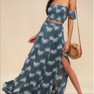 Trancoso Dusty Blue Floral Print Two Piece Maxi